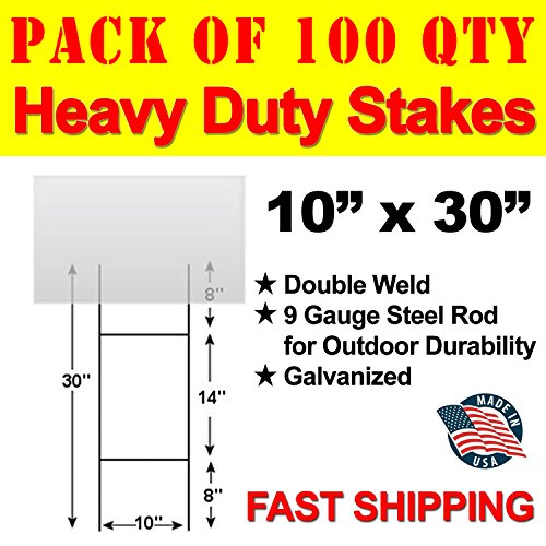 Vibe Ink Pack of 100 Quantity Heavy Duty Metal H-Stakes H Frame Wire Stakes - Yard Sign Stake - Use 4mm Corrugated Signs by Vibe Ink