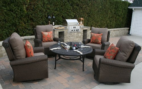 The Giovanna Collection All Weather Wicker/Cast Aluminum Deep Seating Lounge Set ()