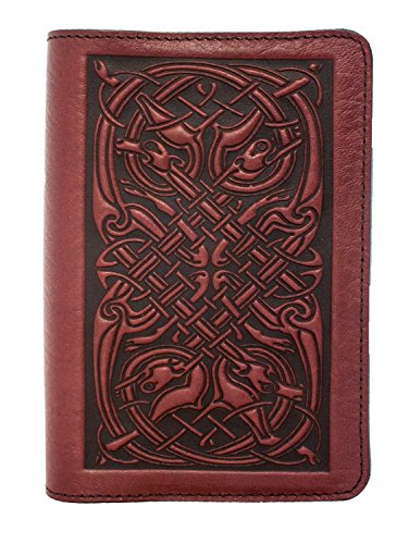 Oberon Design Celtic Hounds Pocket Notebook Cover, Fits Many 5.5 x 3.5 Inch Notebooks, Embossed Genuine Leather, Wine Color, Made in The USA