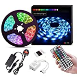 Suyoo LED Strip Lights 16.4ft/5m Flexible Color Changing Led Light Strip Kit 5050 RGB Rope Light with 44 Key IR Remote 12V2A Power Supply(UK Plug)