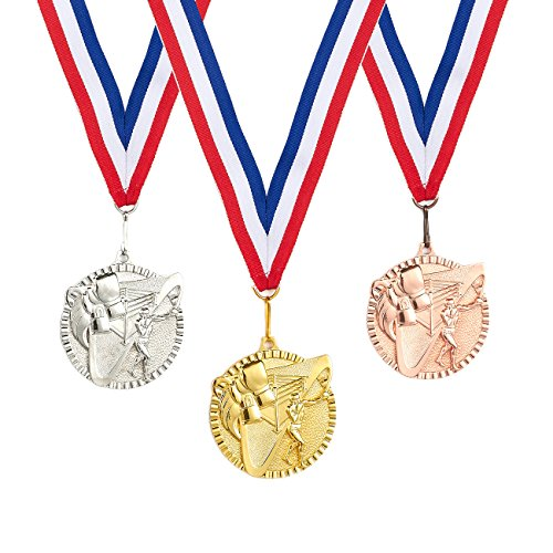 Achievement Award Medal (3-Piece Award Medals Set - Metal Olympic Style Boxing Gold, Silver, Bronze Medals for Sports, Games, Competitions, Party Favors, 2.4 Inches in Diameter with 32-Inch Ribbon)