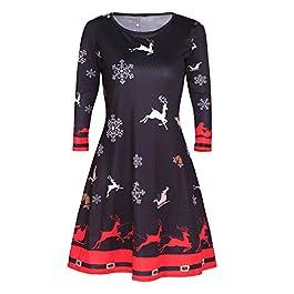HUHU833 Womens Xmas Christmas Santa Skater Ladies Snowman Swing Dress