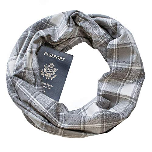 Price comparison product image YunZyun 3 Pack Winter Loop Plaid Pattern Scarves for Women Girls Couple Lightweight Convertible Infinity Scarf Wrap with Hidden Zipper Pocket Warm Soft Stretchy Elegant Best Travel Scarf (Gray)