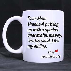 SCSF Coffee Mug Thank You Dear Mom Tea Cup Ceramic Coffee Mug 11 Ounce