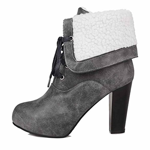 Low Gray High Toe AgooLar Closed Solid Heels PU top Round Women's Boots wCpgxqf