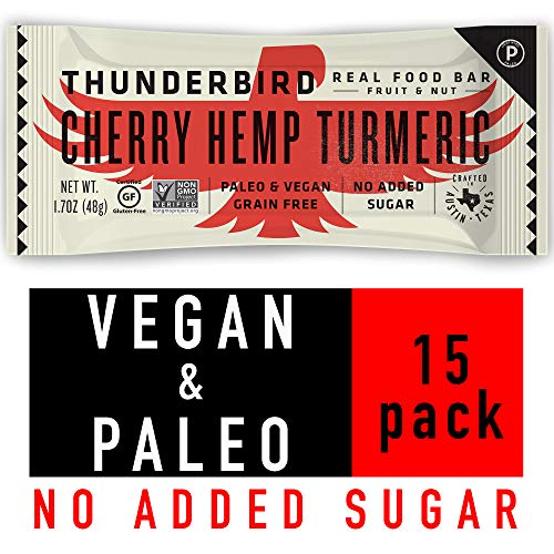 Thunderbird Paleo and Vegan Snacks – Real Food Energy Bars – Fruit & Nut – Box of 15 – No Added Sugar, Grain and Gluten Free, Non-GMO (Cherry Hemp Turmeric)