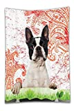 Beshowereb Fleece Throw Blanket Purebred Cute Boston Terrier Artwork Posing on GrasDecorative Picture Design Black White Green and Red Print Pet Lover Owner Bathroom Decor Crimson Machine Washable.j