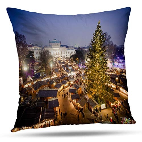 Alricc Vienna Traditional Christmas Market Blue Sunset Europe Decorative Throw Pillows Cushion Cover for Bedroom Sofa Living Room 18X18 Inches