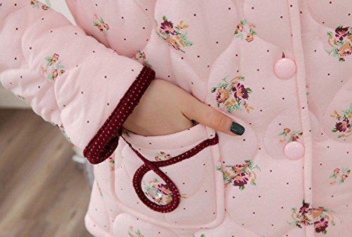 QPALZM Corea Del Invierno Más Gruesa De Terciopelo Pijama De Algodón Caliente De Manga Larga Pink