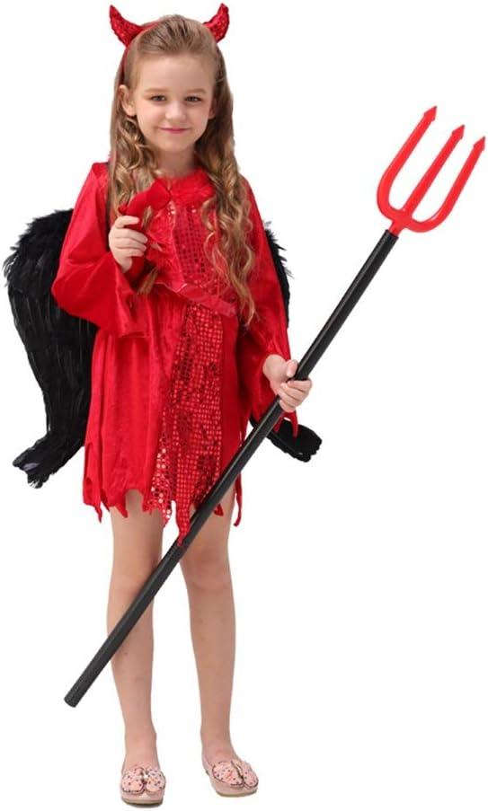 Disfraces para Niños Disfraces de Halloween para niños Disfraces De Halloween For Niños Ropa For Niñas Disfraces De Cuerno De Terror Demonio Demonio Rojo (Color : Red, Size : S)