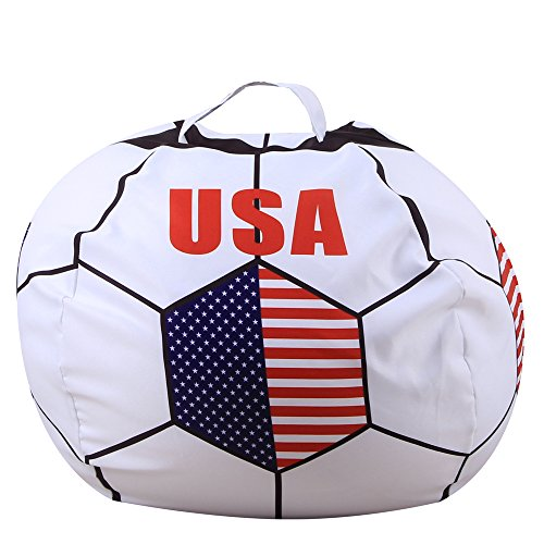 (Soccer Bean Bag Storage for Kid's Stuffed Animals - 2018 World Cup 32 Nations Flag Style Push Toy Organizer for Child Bedroom, Storage Solution for Clothes, Towels and Yarn (USA, 26