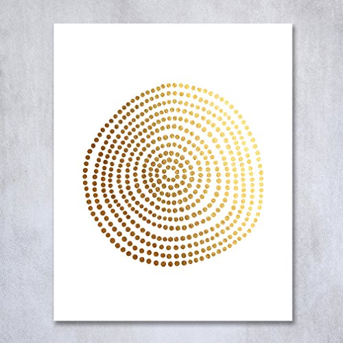 Circle of Dots Gold Foil Print Abstract Circle Hand Drawn Dots Sun Small Poster Wall Art Gold Decor 5 inches x 7 inches (Art Small Poster)