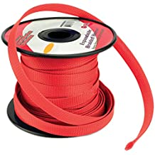 RED 3/8 100FT BRAIDED EXPANDABLE FLEX SLEEVE WIRING HARNESS LOOM WIRE COVER