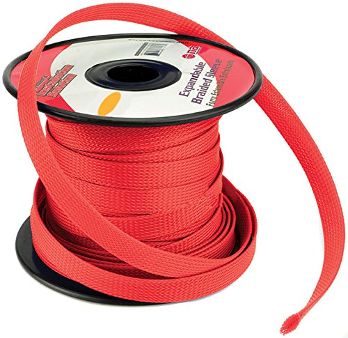 RED 1/4 100FT BRAIDED EXPANDABLE FLEX SLEEVE WIRING HARNESS LOOM WIRE COVER