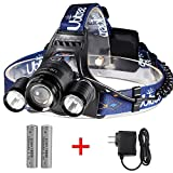 totobay 3 LEDs Zoomable Headlamp, {Upgrade Version} 5000lm 4 Modes Head Flashlight Lights with 2 Rechargeable Batteries and Wall Charger for Outdoor Sports