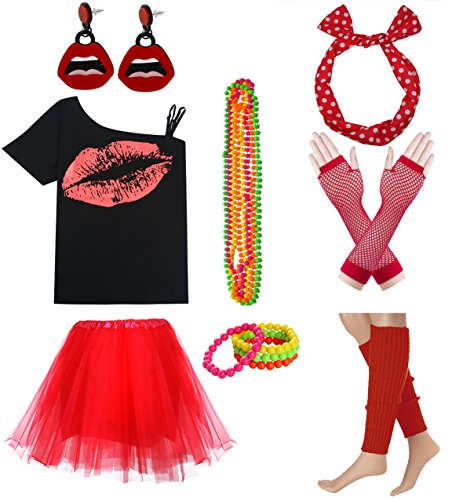 Women Sexy Lips Off Shoulder Shirt with Color Tutu Skirt Complete Costume Outfit (XXL, Red)