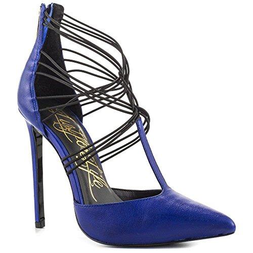 Lust For Life Locust Talon Haut T-strap Bout Pointu Escarpins Pompes Teinte Bleu