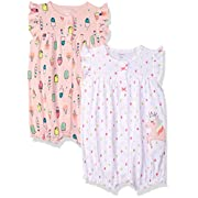 Carter's Baby Girls' 2-Pack Romper, Unicorn/Ice Cream, 3 Months