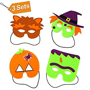 CPPSLEE Halloween Mask Craft Kits- Masks and Cuffs Kit With Stickers, Shapes, Self-Adhesive Foam,Various accessories