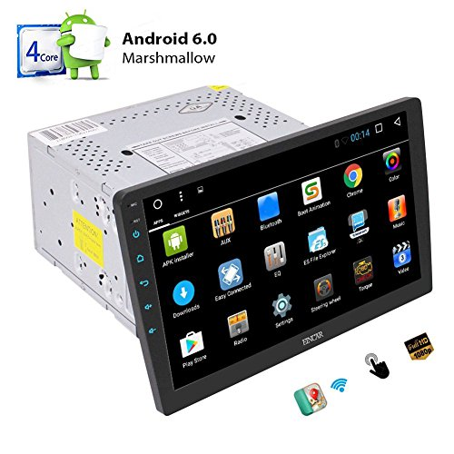 Quad Core Android 6.0 System Car Stereo with 10.1 '' Adjustable Viewing Touch Screen Double Din Head Unit in Dash GPS Navigation Radio Audio Player Support 1080P Video Bluetooth OBD2 WiFi Mirrorlink (Best Double Din Head Unit Under 200)