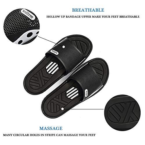welltree Men's Slide Slipper Shower/Pool / Beach/Garden Quick Drying Sandal 7 D(M) US Men / 40 Black by welltree (Image #2)