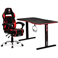 OVERDRIVE Elite Gaming Chair with Footrest and CX2 Desk Setup Combo, Black & Red