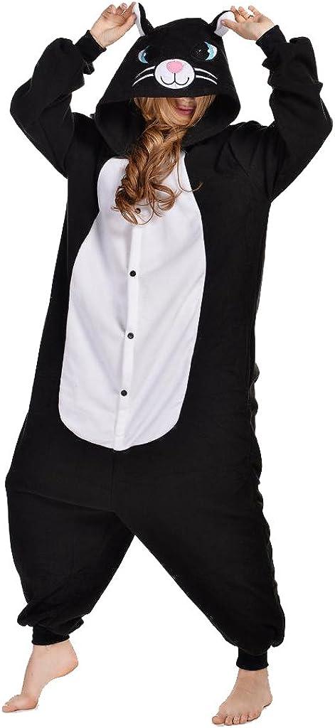 NEWCOSPLAY Unisex Adult Cat One- Piece Cosplay Animal Pajamas Halloween Costume