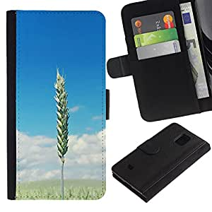 KingStore / Leather Etui en cuir / Samsung Galaxy S5 Mini, SM-G800 / Campos de trigo