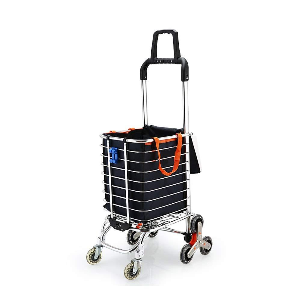 折りたたみ式ショッピングカート、持ち運び可能な階段式食器棚を持ち上げる再利用可能なユーティリティトランジットカート、回転式ホイール、長くしたハンドル、折りたたみ可能なフレーム   B07JN1YF2W