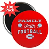 CafePress - Family Faith Football Red - 2.25'' Magnet (100 pack)