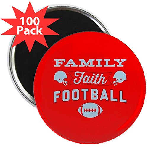 CafePress - Family Faith Football Red - 2.25'' Magnet (100 pack) by CafePress