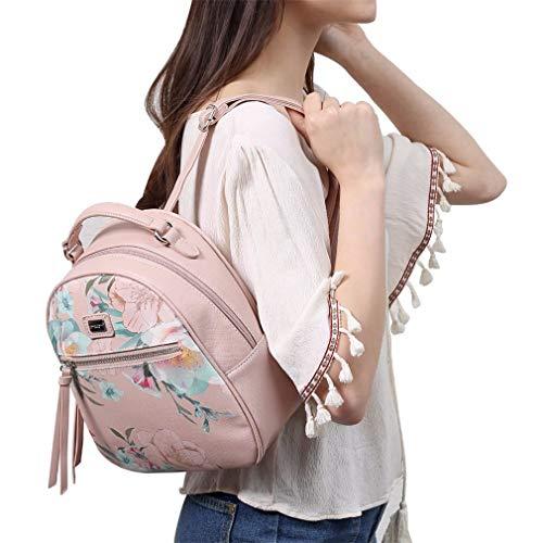 Bags School Faux Girl Lady Flower Embroidery Black Female Softpack Backpacks Women Bag Shoulder Leather XwppqB