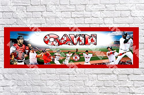 Personalized / Customized Boston Red Sox Name Poster with Border Mat- Home Wall Decor Birthday Party Door Banner