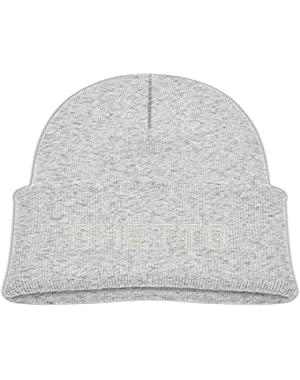Kids Humor Illusion Text Ghetto Design Casual Flexible Winter Knit Hats/Ski Cap/Beanie/Skully Hat Cap