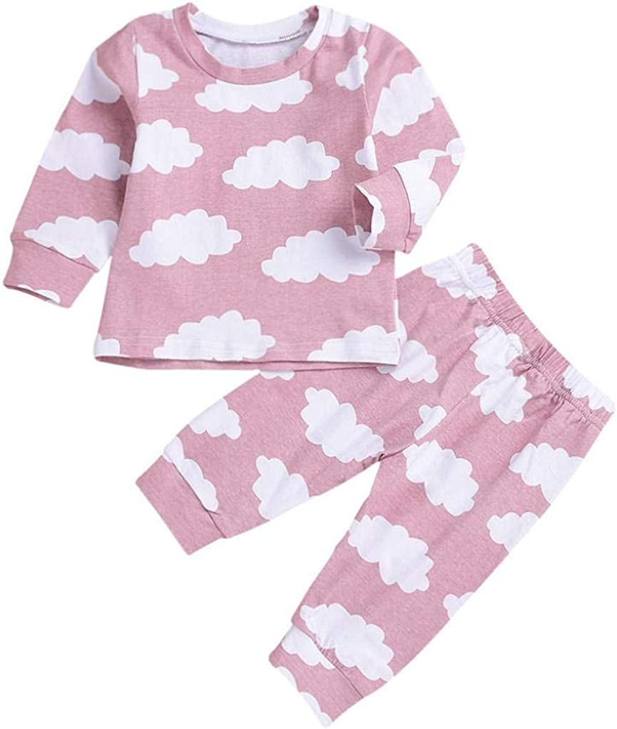 Dinlong Toddler Infant Baby Kid Girls Clothes Striped Romper Top Pant Outfit Set
