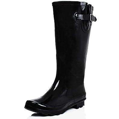 Flat Festival Wellies Knee High Wide Calf Rain Boots Black UK 3