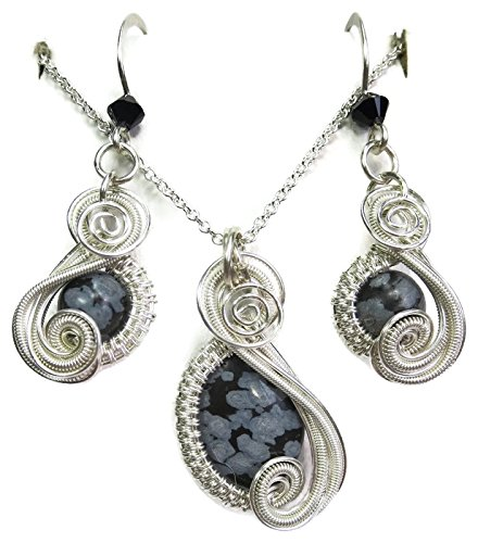 - Snowflake Obsidian and Swarovski Crystal Wire-Wrapped Mini-Swish Earring/Necklace Set in Sterling Silver
