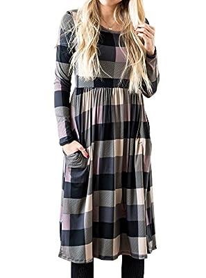 Runcati Womens Dresses Long Sleeve Swing Casual Plaid Empire Waist Midi Tshirt Dress