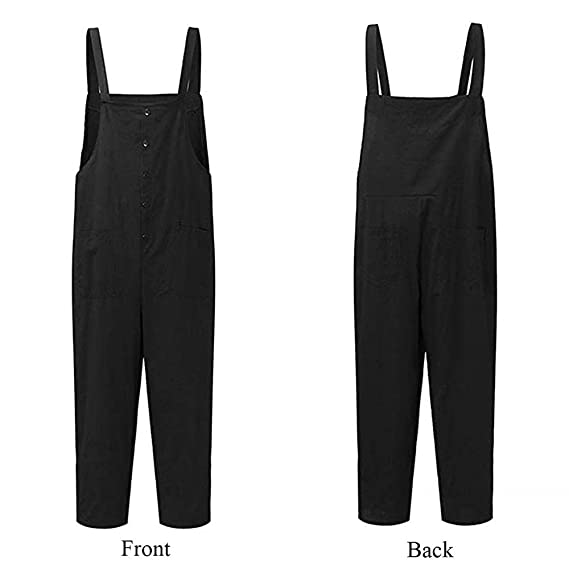 405fbaacc7b8 Amazon.com  Women s Plus Size Linen Overalls Baggy Adjustable Strap  Sleeveless Jumpsuits Casual Loose Wide Leg Dungarees Rompers  Clothing