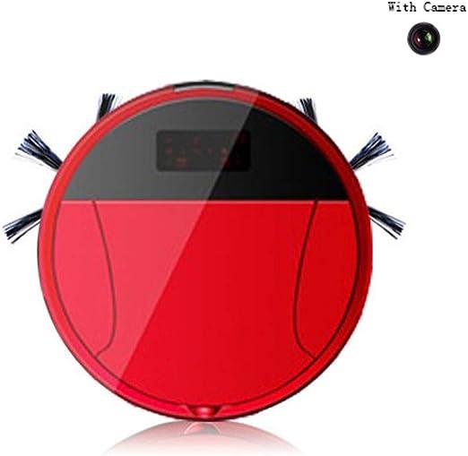 INTELZY Robot Aspirador, Barre y Aspira El Suelo y Alfombra con Navegación Inteligente, App, WiFi, 4 Modos de Limpieza, Bateria Ión-Litio de 240 Minutos de Autonomía, Incluye Base de Carga, Rojo: Amazon.es: