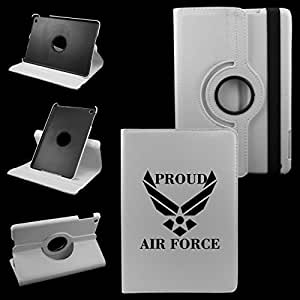 IPad Mini PROUD AIR FORCE Leather Rotating Case 360 Degrees Multi-angle Vertical and Horizontal Stand with Strap (White)