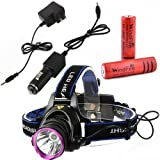 WindFire 2000 Lumens CREE XM-L T6 U2 LED 3 Modes Outdoor Sport Headlamp 18650 Rechargeable Battery Head Light Torch Flashlight with AC Charger Car Charger and 2 X WindFire 4000mah Rechargeable battery for Hiking, Riding, Camping, Climbing, Hunting