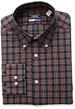 "IZOD Men's Regular Fit Tartan Buttondown Collar Dress Shirt, Petrol, 14""-14.5"" Neck 32""-33"" Sleeve"