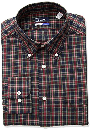 Petrol Plaid (IZOD Men's Regular Fit Tartan Buttondown Collar Dress Shirt, Petrol, 16