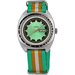 Men's Italian Designed Taxi Driver by Fonderia Stainless Steel Green Dial with Green and Orange Nylon Strap Quartz Watch P-8A004UV1