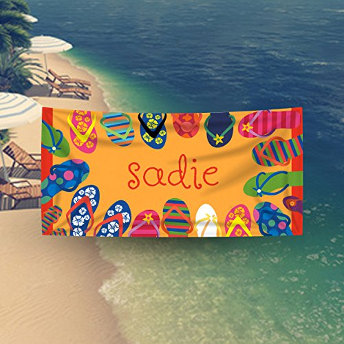 "fyrcracker Personalized Jumbo XL Premium Beach Towel, Super Soft 35 x 70"" Cotton/Microfiber, Multicolor Flip Flops Sandals Custom Pool Towel for Kids, Teens, and ()"