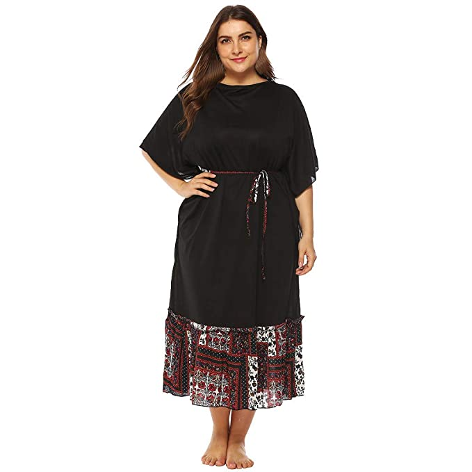 4e8d4076bf Indian Dresses For Women Plus Size O Neck Half Sleeve Ankle Length Dress  Party Dress at Amazon Women s Clothing store
