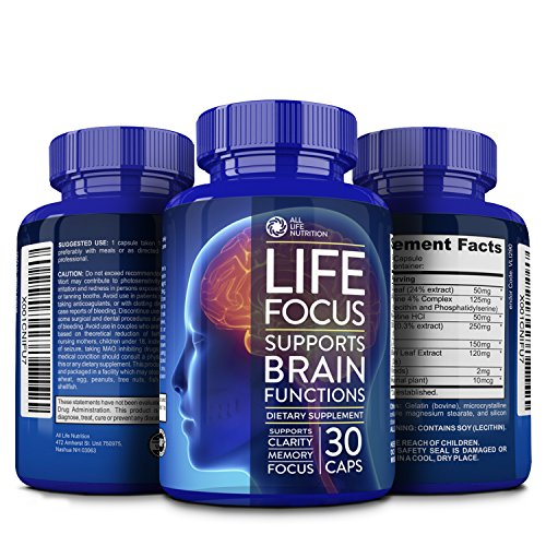 Brain Booster Nootropic Supplement By All Life Nutrition Focus, Memory, and Clarity Enhancer - Brain Supplement with Ginkgo Biloba, Saint John's Wort, Bacopa Monnieri and More, 30 Mental Energy - Booster Brain