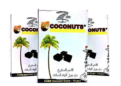 Zebra smoke: Cube Coconut Shell Hookah Charcoal 72 PCS (3 Pack)