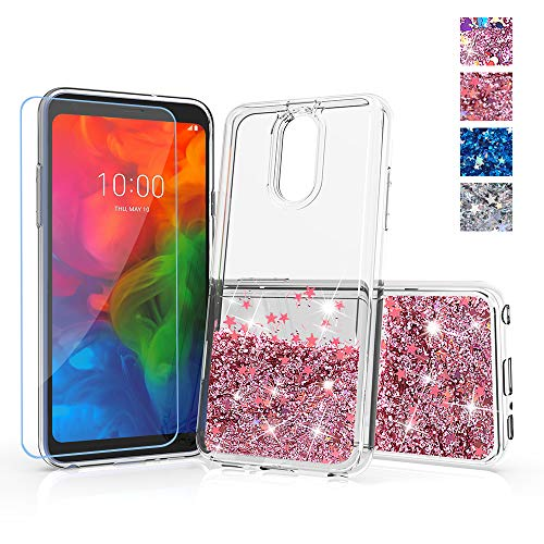 for lg Q7 Plus Phone case,lg Q7+ Glitter case,DDTKZC Tempered Glass Protector and Sparkle The Liquid TPU is Clear Case for Q7a case 2018 (Rose Gold)